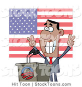 Stock Cartoon of a Smiley Politician Gesturing with Peace Signs by Hit Toon