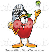 Stock Cartoon of a Smiling Athletic Red Apple Character Mascot Preparing to Hit a Tennis Ball by Toons4Biz