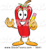 Stock Cartoon of a Smiling Chili Pepper Mascot Cartoon Character Holding a Pencil by Toons4Biz