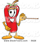 Stock Cartoon of a Smiling Chili Pepper Mascot Cartoon Character Holding a Pointer Stick by Toons4Biz