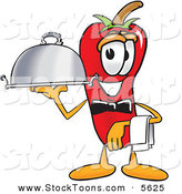 Stock Cartoon of a Smiling Chili Pepper Mascot Cartoon Character Holding a Serving Platter by Toons4Biz