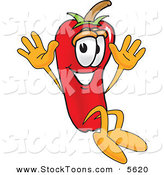 Stock Cartoon of a Smiling Chili Pepper Mascot Cartoon Character Jumping by Toons4Biz