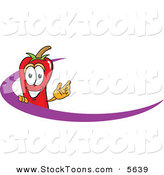 Stock Cartoon of a Smiling Chili Pepper Mascot Cartoon Character Logo with a Purple Dash by Toons4Biz