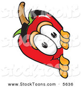 Stock Cartoon of a Smiling Chili Pepper Mascot Cartoon Character Peeking Around a Corner by Toons4Biz