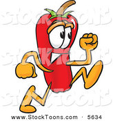 Stock Cartoon of a Smiling Chili Pepper Mascot Cartoon Character Running by Toons4Biz