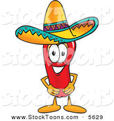 Stock Cartoon of a Smiling Chili Pepper Mascot Cartoon Character Wearing a Sombrero by Toons4Biz