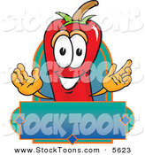 Stock Cartoon of a Smiling Chili Pepper Mascot Cartoon Character with a Blank Label by Toons4Biz