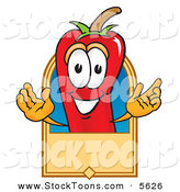 Stock Cartoon of a Smiling Chili Pepper Mascot Cartoon Character with a Blank Tan Label by Toons4Biz