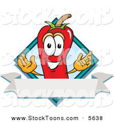 Stock Cartoon of a Smiling Chili Pepper Mascot Cartoon Character with a Blue Diamond and Blank Label by Toons4Biz