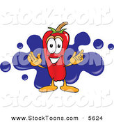 Stock Cartoon of a Smiling Chili Pepper Mascot Cartoon Character with a Blue Paint Splatter by Toons4Biz