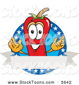 Stock Cartoon of a Smiling Chili Pepper Mascot Cartoon Character with Stars and a Blank Label by Toons4Biz