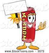 September 12nd, 2013: Stock Cartoon of a Smiling Dynamite Mascot Cartoon Character Holding a Blank Sign by Toons4Biz