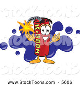 August 9th, 2013: Stock Cartoon of a Smiling Dynamite Mascot Cartoon Character with a Blue Paint Splatter by Toons4Biz