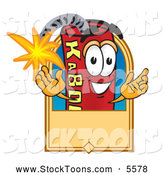 September 8th, 2013: Stock Cartoon of a Smiling Dynamite Mascot Cartoon Character with a Tan Label by Toons4Biz