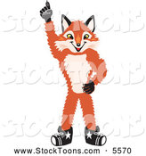 Stock Cartoon of a Smiling Fox Mascot Cartoon Character Pointing Upwards by Toons4Biz