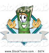 Stock Cartoon of a Smiling Green Carpet Mascot Cartoon Character with a Blank Label by Toons4Biz