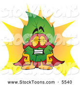 Stock Cartoon of a Smiling Leaf Mascot Cartoon Character Dressed As a Super Hero by Toons4Biz
