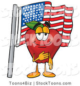 Stock Cartoon of a Smiling Patriotic Red Delicious Apple Character Mascot Giving the Pledge of Allegiance in Front of an American Flag by Toons4Biz