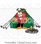 Stock Cartoon of a Smiling Red Apple Character Mascot Camping with a Tent and a Fire by Toons4Biz