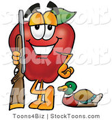 Stock Cartoon of a Smiling Red Apple Character Mascot Duck Hunting, Standing with a Rifle and Duck by Toons4Biz