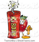 Stock Cartoon of a Smiling Red Apple Character Mascot Standing with a Stick of Dynamite Explosives by Toons4Biz