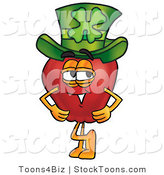 Stock Cartoon of a Smiling Red Apple Character Mascot Wearing a Green Paddy's Day Hat with a Four Leaf Clover on It by Toons4Biz