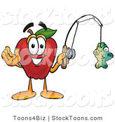 Stock Cartoon of a Smiling Sporty Red Apple Character Mascot Holding a Fish on a Fishing Pole by Toons4Biz