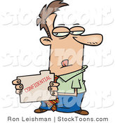 Stock Cartoon of a Sneaky Business Man Looking at a File by Ron Leishman