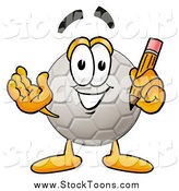 Stock Cartoon of a Soccer Ball Holding a Pencil by Toons4Biz