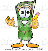 Stock Cartoon of a Sporty Green Carpet Mascot Cartoon Character Holding a Pencil by Toons4Biz