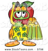 Stock Cartoon of a Sporty Happy Red Apple Character Mascot in Green and Yellow Snorkel Gear by Toons4Biz
