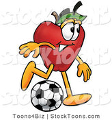 Stock Cartoon of a Sporty Red Apple Character Mascot Kicking a Black and White Soccer Ball by Toons4Biz