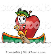 Stock Cartoon of a Sporty Red Apple Character Mascot Rowing a Green Boat by Toons4Biz