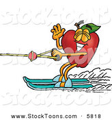 Stock Cartoon of a Sporty Red Apple Character Mascot Waving and Water Skiing LeftSporty Red Apple Character Mascot Waving and Water Skiing Left by Toons4Biz