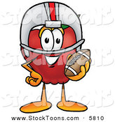 Stock Cartoon of a Sporty Smiling Red Apple Character Mascot in a Helmet, Holding a Football by Toons4Biz