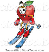 Stock Cartoon of a Sporty Smiling Red Apple Character Mascot Skiing Downhill by Toons4Biz