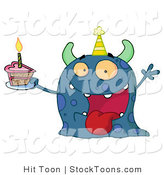 Stock Cartoon of a Spotted Blue Birthday Monster by Hit Toon