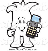 Stock Cartoon of a Squiggle Guy Holding a Cell Phone by Toons4Biz