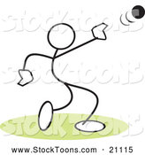 Stock Cartoon of a Stick Person Throwing a Shot Put over Green by Johnny Sajem