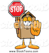 Stock Cartoon of a Stop Sign Being Held by a Cardboard Box Mascot by Toons4Biz