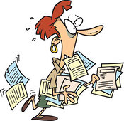 Stock Cartoon of a Stressed Business Woman Carrying Documents by Ron Leishman