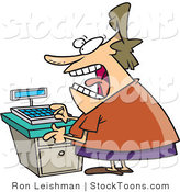 Stock Cartoon of a Stressed out Clerk Woman at a Cash Register by Ron Leishman