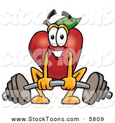 Stock Cartoon of a Strong and Nutritious Smiling Red Apple Character Mascot Lifting a Heavy Barbell by Toons4Biz