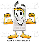 Stock Cartoon of a Strong Calculator Character Flexing His Arm Muscles by Toons4Biz