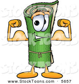 Stock Cartoon of a Strong Green Carpet Mascot Cartoon Character Flexing His Arm Muscles by Toons4Biz