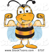 Stock Cartoon of a Strong Honeybee Mascot Cartoon Character Flexing His Arm Muscles by Toons4Biz