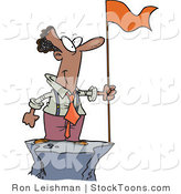 Stock Cartoon of a Successful Black Business Man Standing on a Mountain Top with a Red Flag by Toonaday