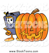 Stock Cartoon of a Suitcase Character with a Carved Halloween Pumpkin by Toons4Biz