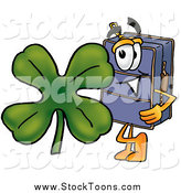 Stock Cartoon of a Suitcase with a St Patricks Day Shamrock Clover by Toons4Biz
