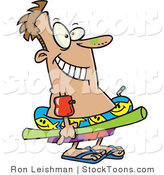 Stock Cartoon of a Summer Man with Swim Gear by Toonaday